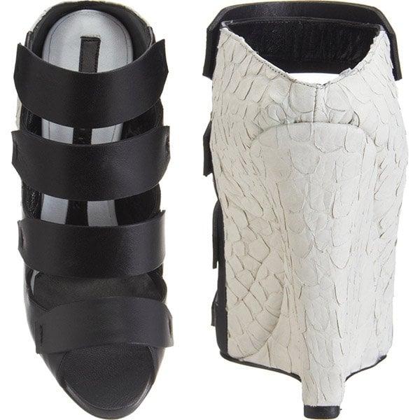 Narciso Rodriguez Bi-Color Multi-Strap Wedge Sandals