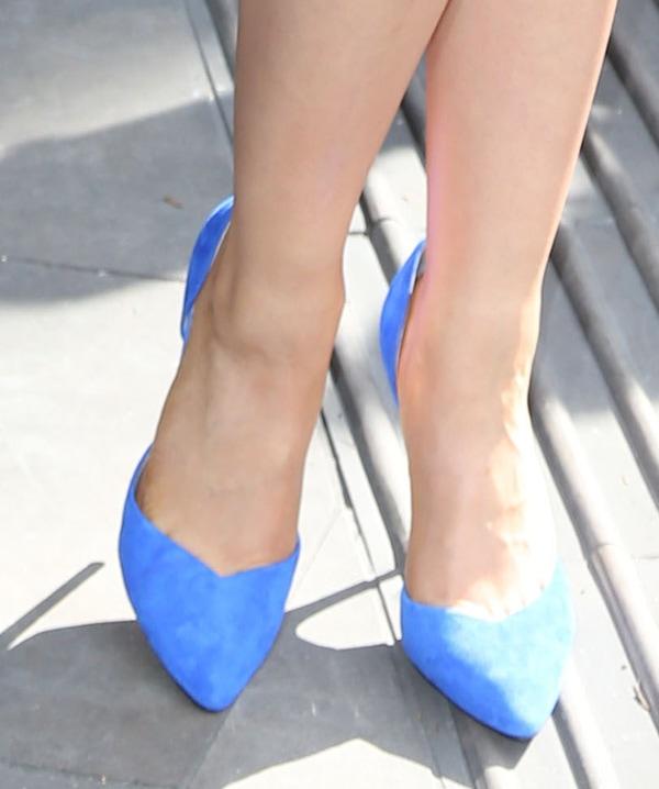 Natalie Gumede shows off her feet in blue suede pumps