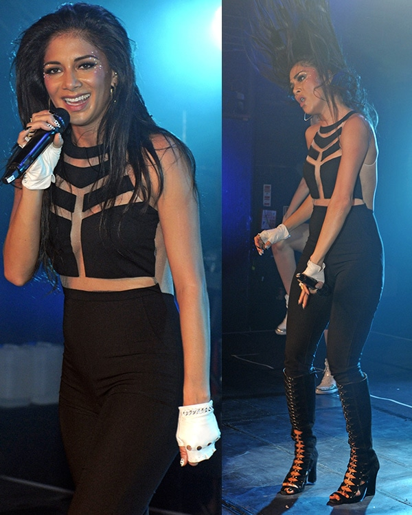 Nicole Scherzinger in a tight-fitting black catsuit with cutout panels and a see-through mesh back by Missguided