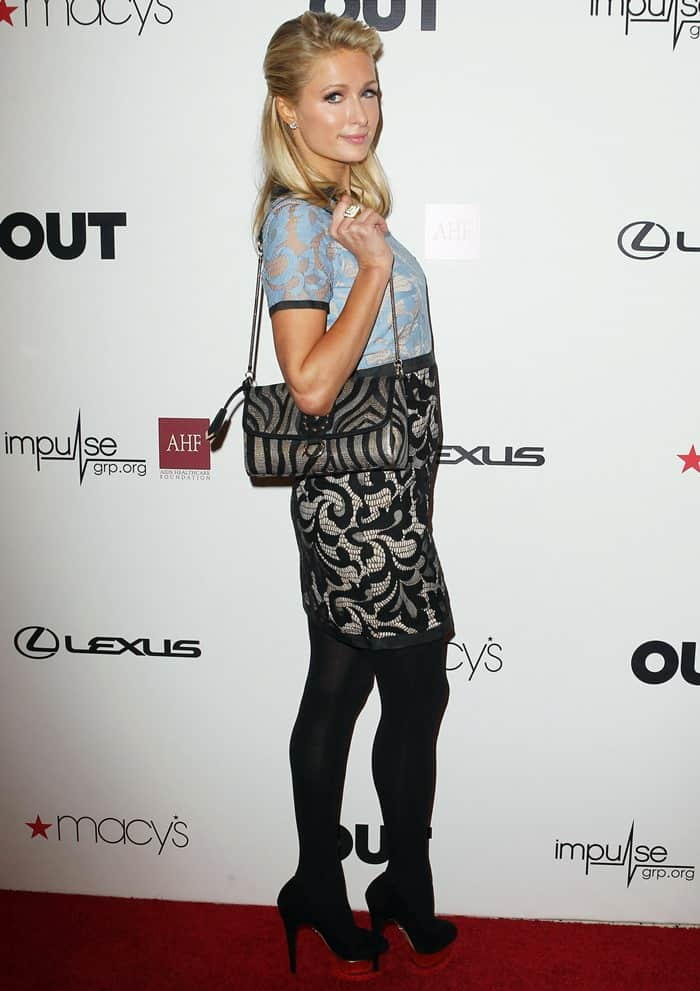 Paris Hilton's incredibly toned legs in black stockings