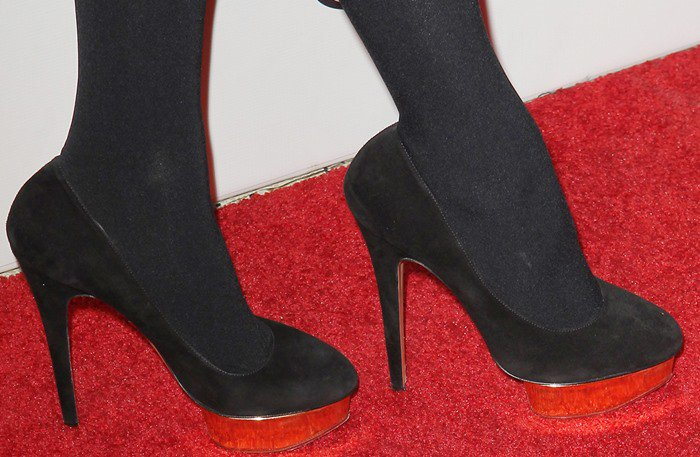 Paris Hilton's feet inCharlotte Olympia 'Dolly Island' platform pumps