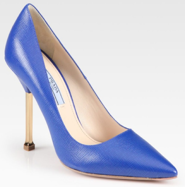 Prada Leather Chrome Heel Pumps in Blue