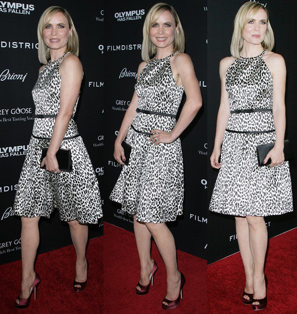 """Radha Mitchell wears her blonde hair down at the Los Angeles premiere of """"Olympus Has Fallen"""""""
