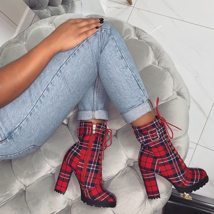 Red Jade Checkered Lace-Up Ankle Boots