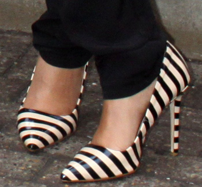 Rochelle Humes's feet in striped Dune pumps