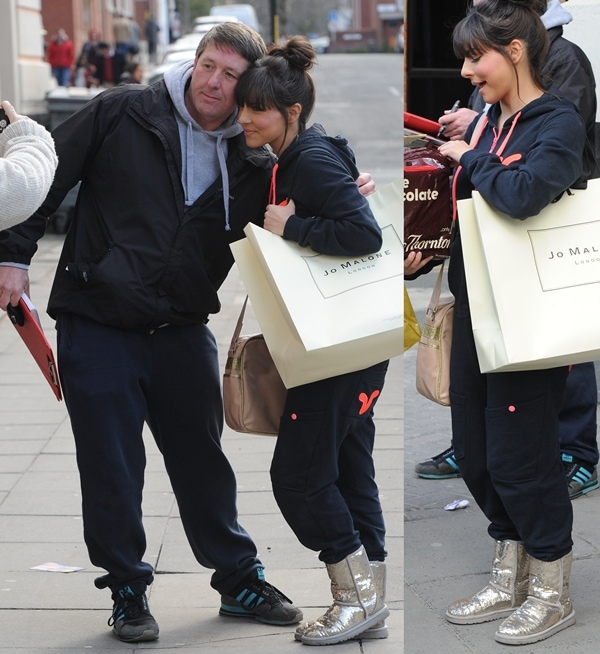 1a02e6fa4c4 Roxanne Pallett in Tracksuit and Sequined UGG Classic 'Sparkles' Boots