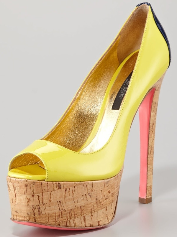 Ruthie Davis Patent Leather Colorblock Cork-Platform Pump $868.00