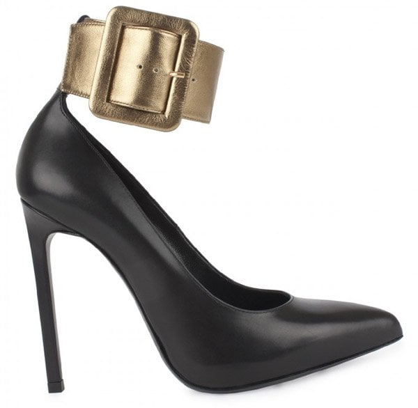 Saint Laurent 'Escarpin' Pumps with Ankle-Cuff Strap in Black and Gold