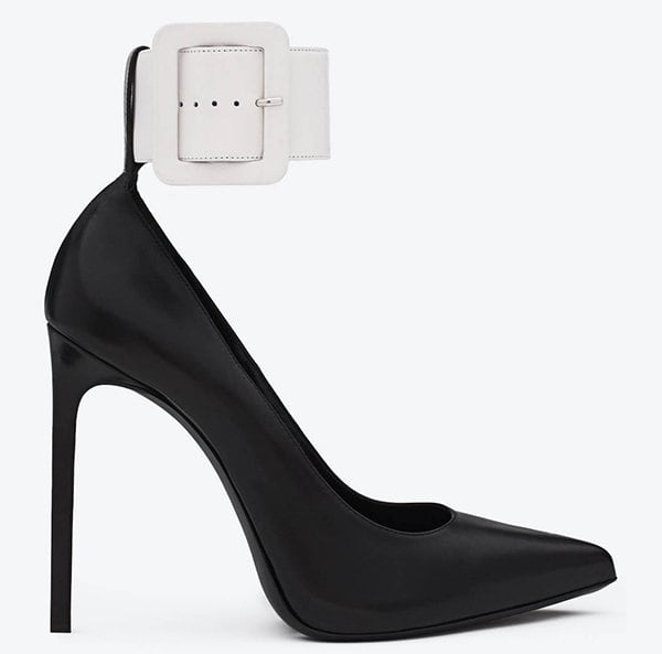 Saint Laurent Escarpin Pumps with Ankle-Cuff Strap in Black and White