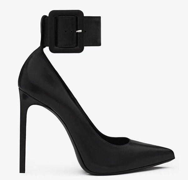 Saint Laurent 'Escarpin' Pumps with Ankle-Cuff Strap in Black