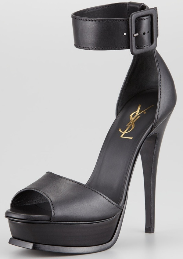 Saint Laurent Tribute Ankle Strap Platform Heel, Black $850.00