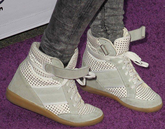 Sarah wearing sneaker wedges