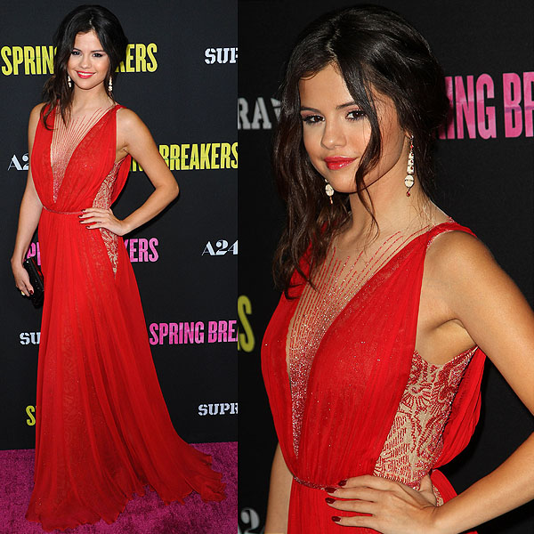 "Actress Selena Gomez attends the ""Spring Breakers"" premiere at ArcLight Cinemas on March 14, 2013 in Hollywood, California"