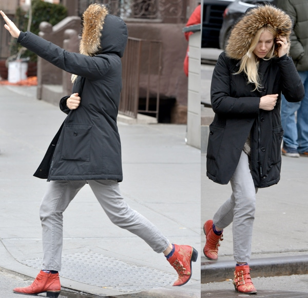 Sienna Miller walking in Chloe ankle boots and hailing a cab