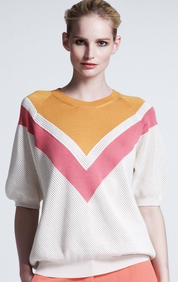 Stella McCartney Chevron Mesh Sweater, Bright Pink:White