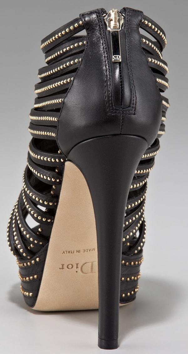 Christian Dior Black Studded Caged Heels