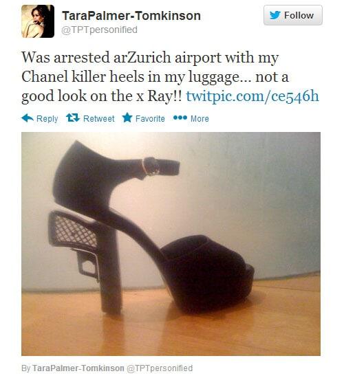 Tara Palmer-Tomkinson Chanel gun heels tweet