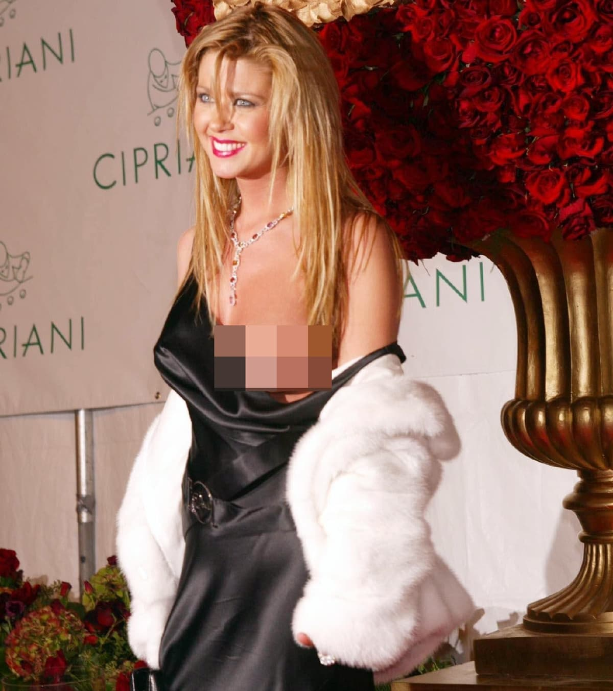 """A strap on Tara Reid's silky dress fell to reveal her entire left breast at Sean """"P. Diddy"""" Combs' 35th Birthday Celebration"""