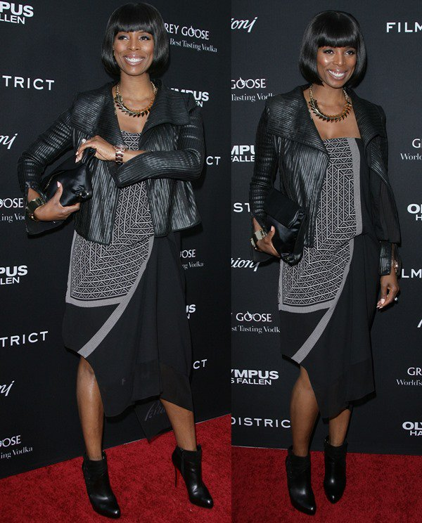 """Tasha Smith matches her black hair to a black ensemble at the Los Angeles premiere of """"Olympus Has Fallen"""""""