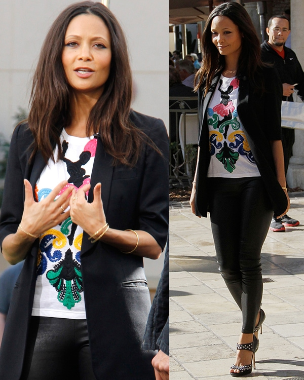 Thandie Newton at The Grove to appear on the show, 'Extra' Los Angeles, California