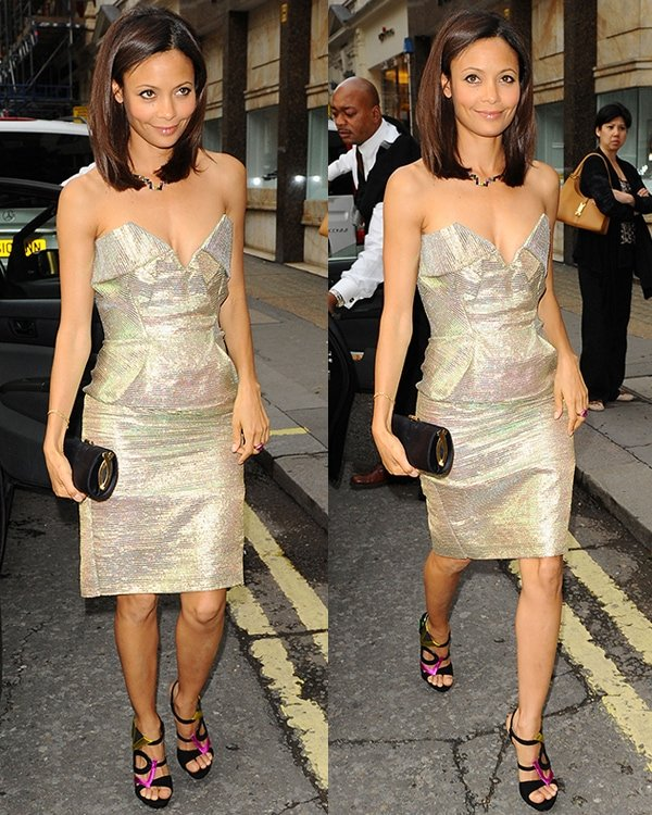 Thandie Newton at the store opening of Solange Azagury-Partridge wearing multi-coloured shoes London, England