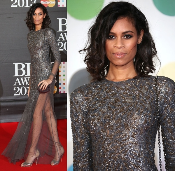Aluna Francis in a stunning dress by Theyskens' Theory at the 2013 Brit Awards