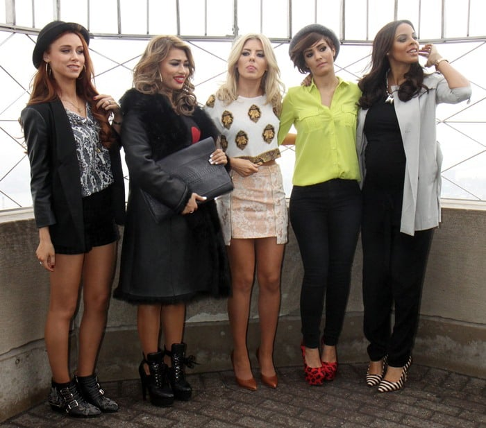 The Saturdays promoting their documentary TV series, 'Chasing The Saturdays', at the Empire State Building in New York on March 11, 2013
