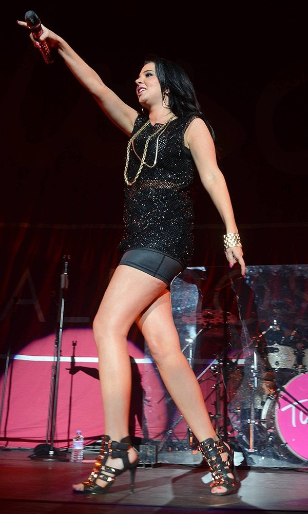 Tulisa performing live in concert at the O2 Arena in Dublin in support of Ne-Yo on March 11, 2013