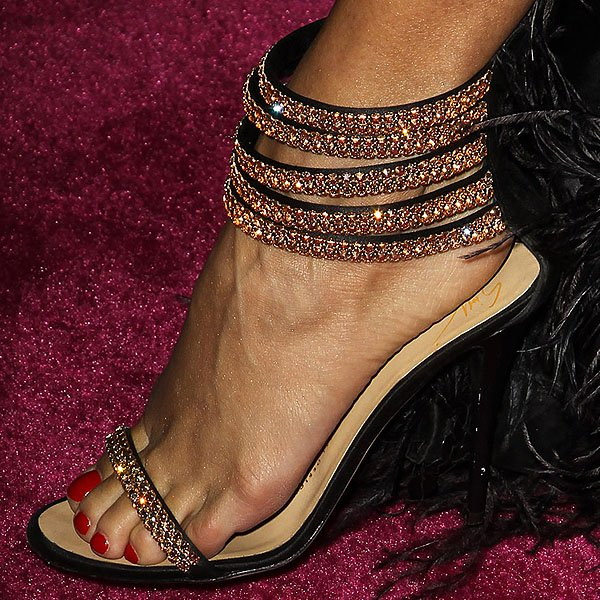 Vanessa Hudgens showing off her feet in crystal-encrusted strappy sandals