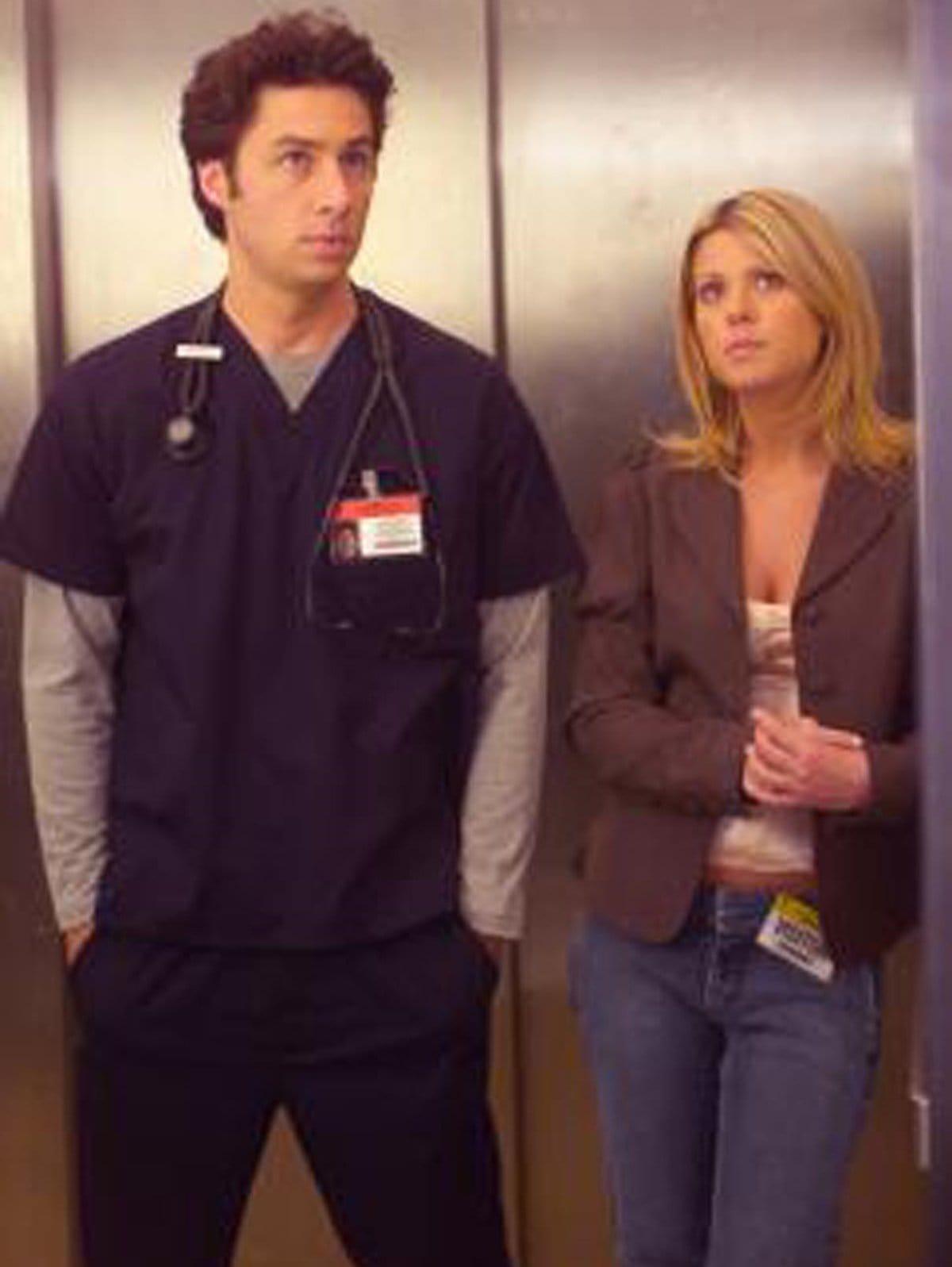 "Zach Braff portrays John Michael ""J.D."" Dorian and Tara Reid as Danni Sullivan in the American medical comedy-drama television series Scrubs"