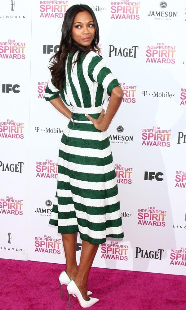 Zoe Saldana at the 2013 Film Independent Spirit Awards at Santa Monica Beach in Santa Monica, California, on February 23, 2013