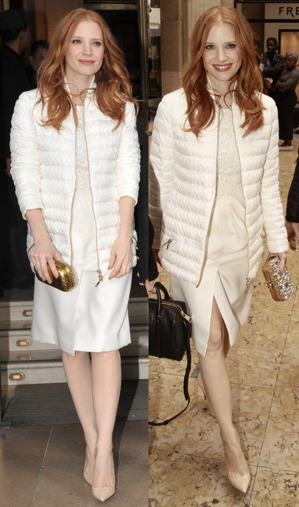 Jessica Chastain ina gorgeous cream dress and Moncler plissé nylon jacket combo