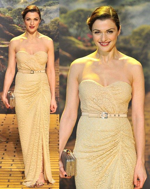 Rachel Weisz wearing a floor-length strapless dress