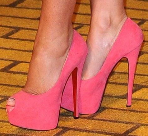 Danielle Lloyd's hot feet in Christian Louboutin Highness heels
