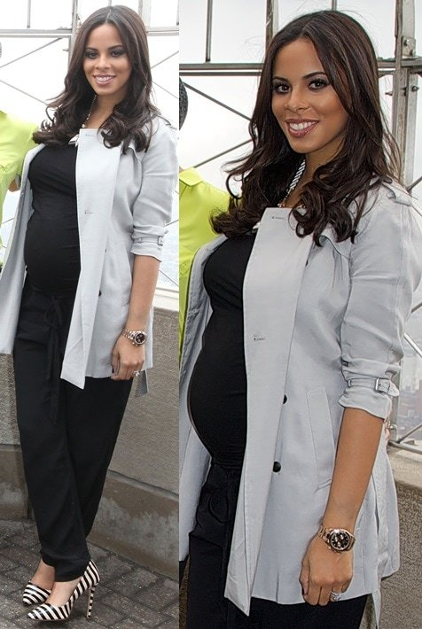Rochelle Humes wearing striped black-and-white pointy pumps