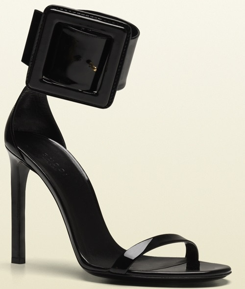 Gucci Victoire Ankle Strap Sandals in Black