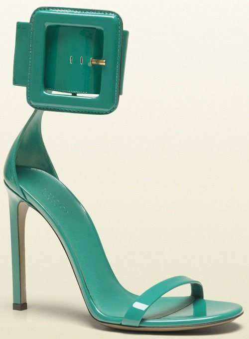 Gucci Victoire Ankle Strap Sandals in Turquoise Green