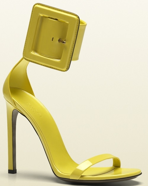 Gucci Victoire Ankle Strap Sandals in Yellow