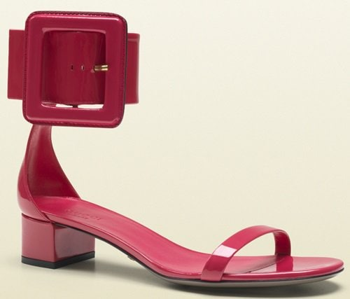 Gucci Victoire Low Heel Ankle Strap Sandals