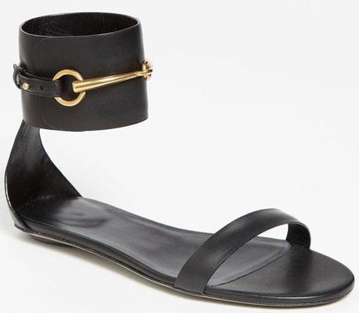 Gucci Horsebit Ankle-Wrap Ursula Flat Sandals