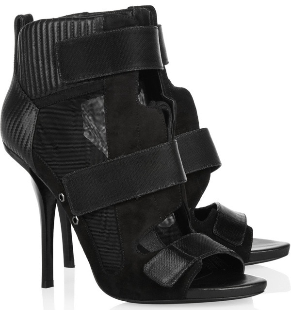 ALEXANDER WANG Noemi suede, mesh and leather sandals