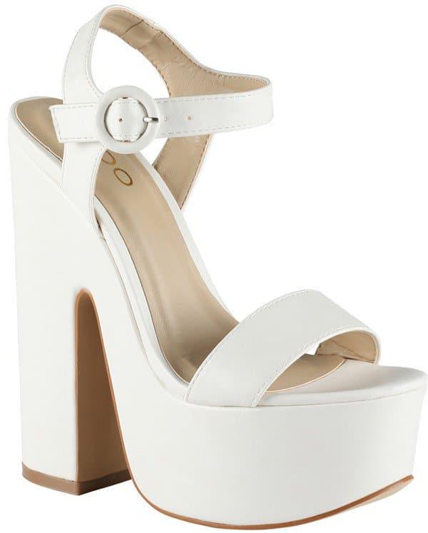 "Aldo ""Mardis"" Platform Sandals in White"