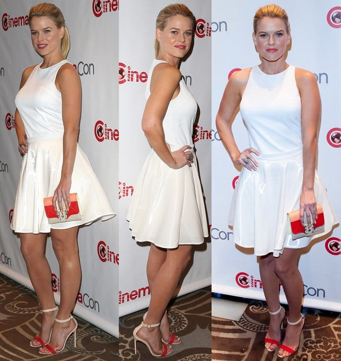 Alice Eve in a sleeveless white top and matching skirt by Amen