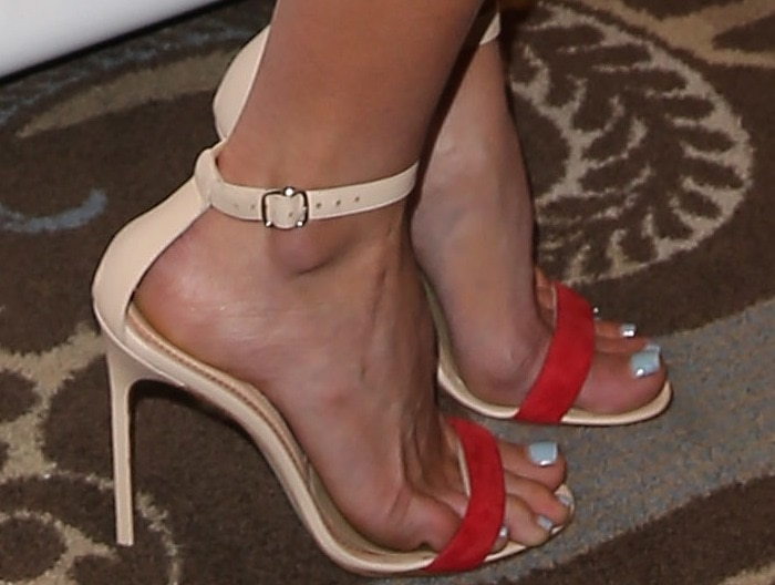 Alice Eve's feet in ankle-strap Manolo Blahnik for Holmes & Yang shoes