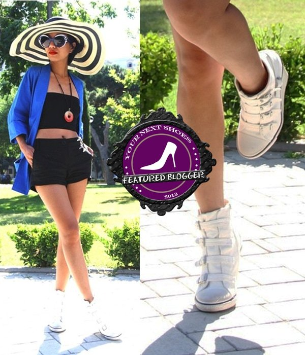 Aphrodite styled Ash wedge sneakers with a floppy hat