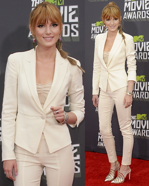 Bella Thorne rocked a Giorgio Armani white suit at the 2013 MTV Movie Awards