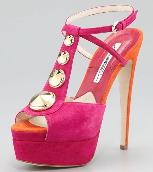 Brian Atwood Clizia Studded Suede Sandals