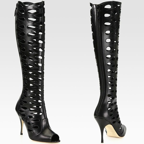 "Brian Atwood ""Electra"" Cutout Open-Toe Knee-High Boots"
