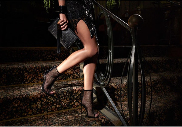 "B Brian Atwood"" Michelet"" Mesh Booties in Black Mesh"