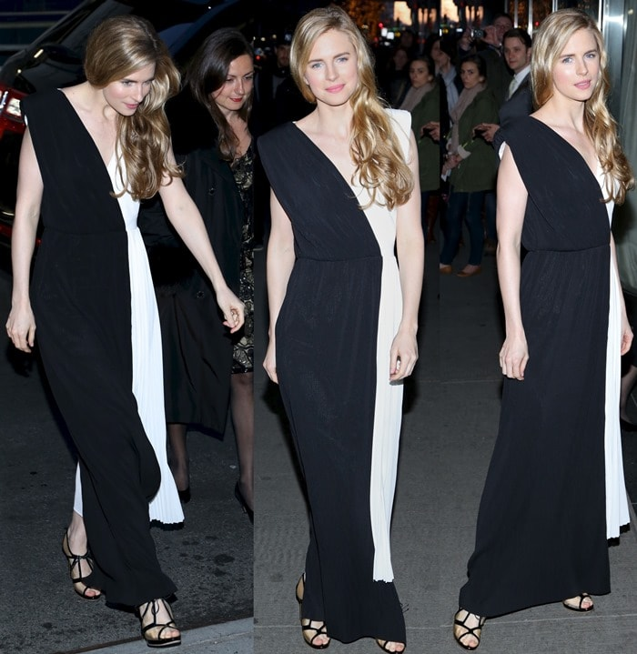 Brit Marling looked on-trend in black and white at the New York premiere of 'The Company You Keep'